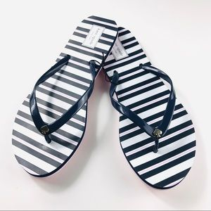 KATE SPADE SANDALS Blue White Pink Stripe
